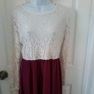 Dresses & Skirts - White Lace Dress With Solid Red Bottom.